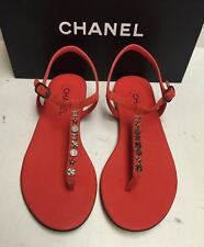 NEW Chanel Classic CC Logo Suede T-Strap Thong Sandals Flats Shoes 40.5