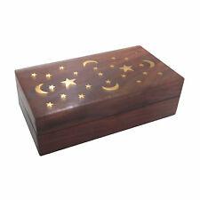 New Hand Carved Wood & Brass Stars Keepsake Stash Trinket Box Wooden Pattern M