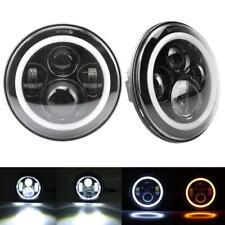 "2x 7"" LED Headlight Angel Eye Halo DRL for Jeep Wrangler Unlimited JK 4DR 07-15"