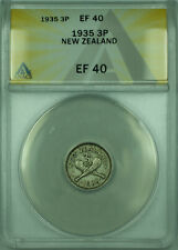 1935 3P New Zealand ANACS EF 40 3 Pence Silver Coin KM#1