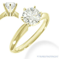 Gold 6-Prong Solitaire Engagement Ring Round Brilliant Cut Moissanite 14k Yellow