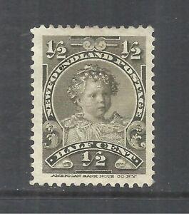 NEWFOUNDLAND SCOTT 78 MH VF/XF - 1897 1/2c OLIVE GREEN ISSUE   CV $4.50