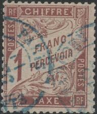 "FRANCE STAMP TIMBRE TAXE N° 25 "" TYPE DUVAL 1F MARRON "" OBLITERE TB  J987"