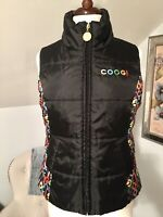 Coogi Womens Puffer Vest Size Medium Black Spellout Sleeveless Full Zip Pockets