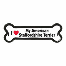 I Love My American Staffordshire Terrier Dog Bone Car Magnet