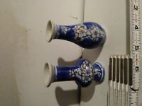 Pair of Cobalt Blue and White Mini Bud Vases, China, Porcelain, Ceramic