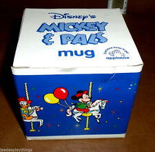 """Disney Carousel Mug Cup Donald Duck Applause 3.5"""" Mickey & Pals Vtg In Box"""