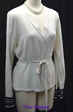 Liz Claiborne fine knit wrap cardigan Sweater light top shrug cream black XL VTG