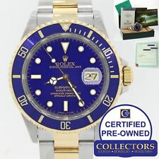 Rolex Submariner Date 16613 Two Tone Steel 18k Gold Blue Watch Box Papers S8