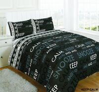 Luxury Keep Calm Text Black Design Duvet Cover Set Bedding w/ Pillowcase Cover