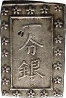 1837 Japan National Coinage Authentic Antique Silver Coin Tempo Era i52830