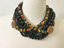Spectacular Angela Caputi Black, Multi Color Resin Bead & Rhinestone Necklace