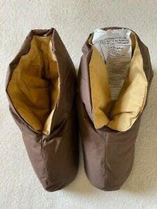 Restoration Hardware L/XL Plush Unisex Foot Duvet Brown Down Slippers NEW IN BOX