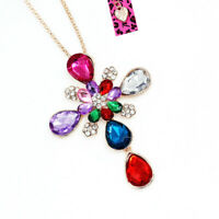 Women's Colorful Crystal Cross Pendant Sweater Chain Betsey Johnson Necklace