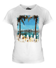 MIAMI GRUNGE PRINT LADIES T-SHIRT SWAG TOP BEACH FLORIDA WHITE SHORT SLEEVE TOP