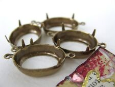 Prong Setting Antiqued Brass Oval Rhinestone Connector Open Back 2 Ring 18x13mm