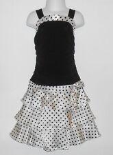 BCX Girl Satin Polka Dot Tiered Party Dress Black & White 6X NWT