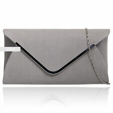 Stylish Grey Plain Suede Wedding Ladies Party Evening Clutch Hand Bag