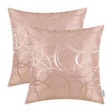 2Pcs Dusty Pink Pillow Shells Cushion Covers Vintage Striped Circle Sofa 45x45cm