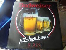 WORKS VINTAGE 1980s BUDWEISER BEER $3.25 PITCHERS LIGHT UP BAR ADVERTISING SIGN