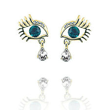 ORO Verde Bianco degli occhi ciglia Donna Ragazza Fashion Orecchini E1184