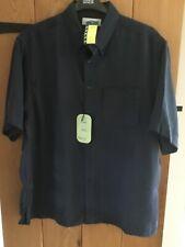 BNWT Marks & Spencer Mens Size L Navy Silk Feel Short Sleeve Shirt