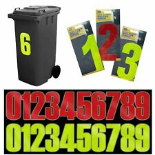 Wheelie Bin House Numbers | Adhesive Wheely Stickers | Reflective Sticky Numbers