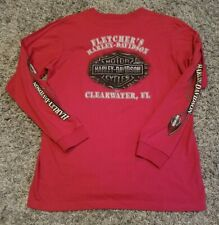 Fletcher's Harley Davidson Clearwater Florida Men Large Red Longsleeve T-Shirt
