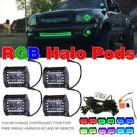 "4x 4"" inch 4D RGB HALO Chasing LED Work Light Bar Offroad Fog Pods + Free Wiring"
