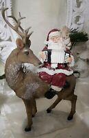 Hirsch Rentier Weihnachtsmann Dekofigur Figur Weihnachten Shabby Vintage