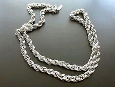 Necklace Monet long chain statement link strand silver tone
