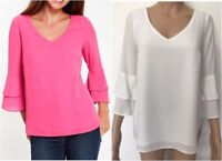 New Ex Wallis Ivory Pink Chiffon V Neck Flute Sleeve Party Blouse Top Size 8-20