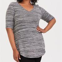 Torrid 1X 2X 3X 5X Top Tunic Grey Marl Hacci Knit Plus Size Tee Shirt V-Neck NWT