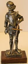 """Italy Depose 73 Medieval Knight 6 1/2"""" Statue w/Sword Figurine Wood Base"""