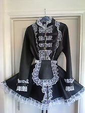 Misfitz black deluxe leather look padlock lockable French maids dress,size 22 TV