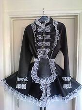 Misfitz black deluxe leather look padlock strait jacket maids dress,size 16