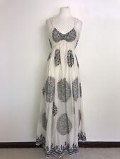 Nicole Farhi-Largo Crema y Negro Algodón Vestido Maxi-Talla 12-Impresionante