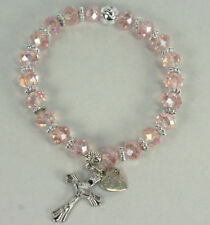 LIGHT PINK Acrylic Beaded Rosary Elastic Bracelet 3-1/2 inches Long
