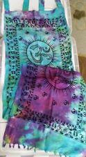 """OM Curtains Tab Top Pair (2 Panels) mult-colored blue purp Tye Dye 20"""" x 72"""" ea."""