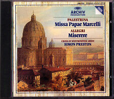 Palestrina mass Papae Marcelli ALLEGRI Miserere Nanino Anerio CD Simon Preston