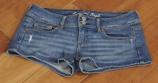 American Eagle Denim Jean Shorts Sz 4 Stretch Flap Pockets Distressed <INV185>