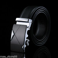 Casual Men's Genuine Leather Alloy Automatic Buckle Belt Waist Strap Waistband