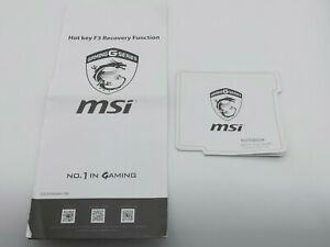 MSI Hot Key F3 Recovery Function Quick Start Guide G52-17922X5-CB8 G52-XXXX24G