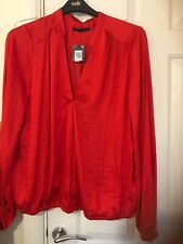 MARKS AND SPENCER RED SILKY V.NECK TOP  SIZE 14 BNWT