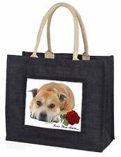 Red Staff Bull+Rose 'Love You Mum' Large Black Shopping Bag Chri, AD-SBT3RlymBLB