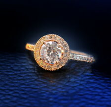 18k Rose Gold Plated Prong Setting Solitaire Wedding Engagement Ring Size 7 R67