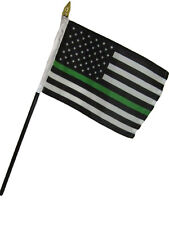 "Wholesale 12 USA THIN Green Line American 4""x6"" Flag Desk Set Table Stick Staff"