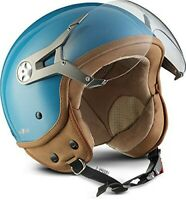 Soxon NTNK N325 Mono Blue Leather Open-Face Motorcycle Jet Helmet Chopper XS