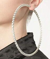 Große Strass Creolen Ohrringe Glitzersteine Crystal Diamond Hoops silber Glamour