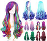 Women Christmas Long Full Hair Wigs Colorful Curly Wavy Straight  Cosplay Wig